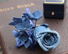 Denim flower, denim buttonhole, denim wedding, denim boutonniere, rose lapel pin