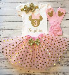 Camiseta de cumpleaños de rosa y oro personalizada Minnie