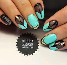 Green mint black gold with jewels and glitter nail art spring summer 2017