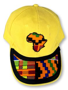 Yellow Cap with Africa Emblem and African Design Peak Size : Weight : Washable : Yes Fabric : Cotton Hand Made African Design, Cap, Yellow, Fabric, Cotton, Handmade, Baseball Hat, Tejido, Tela