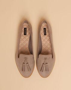 Pull&Bear - woman - women's footwear - tasselled loafer - stone - 15515011-I2015