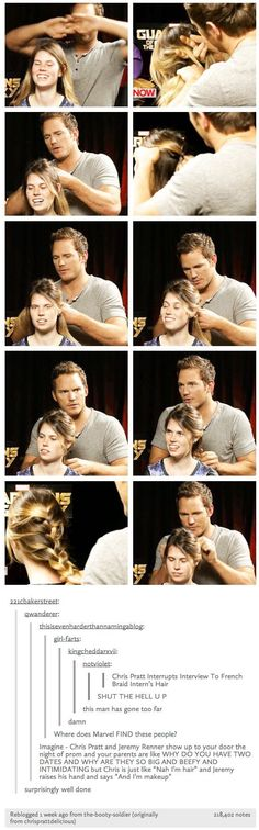 Chris Pratt knows how to do a French braid and I don't even know how to properly tie my hair!--- I want Chris Pratt to French braid my hair Funny Marvel Memes, Marvel Jokes, Dc Memes, Marvel Dc, Chaning Tatum, All Meme, Film Serie, Marvel Cinematic Universe, Stucky
