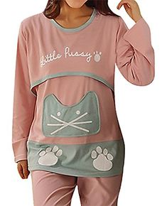 USR Womens Panelled Cat Head Paws Maternity Breastfeeding Long Sleeve Pajamas Pink L ManufacturerXL
