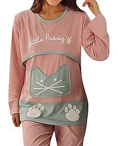 USR Womens Panelled Cat Head Paws Maternity Breastfeeding Long Sleeve Pajamas Pink L ManufacturerXL