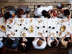 Birdseye view of the table conversation.