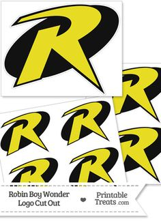 Here is a cool Robin Boy Wonder logo cut out you can use for Robin themed cards, tags, and more. This printable Robin Boy Wonder logo cut out is colored black and yellow. Batman Party, Batman Birthday, Lego Birthday, Superhero Party, Boy Costumes, Super Hero Costumes, Family Halloween, Halloween Crafts, Batman Crafts