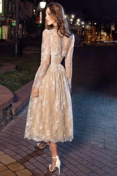 A-Line Pleats Appliqued Tea-Length Strapless Lace Long-Sleeve Illusion Dress - Dress Afford Cocktail Dresses With Sleeves, Black Dress With Sleeves, Party Dresses For Women, Prom Dresses, Wedding Dresses, Bride Dresses, Formal Dresses, Long Party Gowns, Engagement Dresses