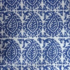 20 Sheeting Cotton Fabric Hand Block Printed LEAF BLUE SKU 11121 | Block Printed Fabric By Yard