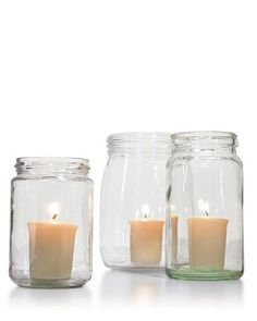 for patios and outdoor parties- inexpensive way to keep candles from blowing out in breeze