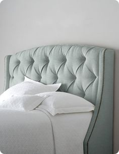 Tufted Fabric Headboard with Winged Sides  wingback