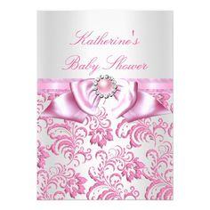 Pretty Baby Shower Girl Pink White Damask