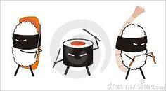 Sushi ninja in cartoon style