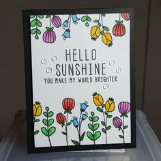 A colorful Hello Sunshine-card with stamps from #altenewllc and #inktensepencils