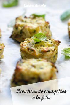 La recette des bouchées de courgettes à la feta #cuisineactuelle #bouchée #courgette #feta