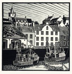 """Pittenweem"" linocut by James Dodds RCA (b.1957). www.jamesdodds.co.uk Tags: Linocut, Cut, Print, Linoleum, Lino, Carving, Block, Woodcut, Helen Elstone, Sea, Boat, Harbour, Waves, Sky, Buildings, Houses."