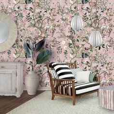 """New print alert!! """"Wild Future"""" available on many products on all my usual platforms! Here on wallpaper. Click to purchase it! . . . #fifikoussout #print #illustration #pink #nature #chinoiserie #wallpaper #spoonflower #botanical #fauna #decor #roomstyle #vibes [some decor elements from alexandercho] Future Wallpaper, Pink Nature, Chinoiserie Wallpaper, Shelf Liners, Design 24, New Print, Custom Wallpaper, Fashion Room, Textured Walls"""