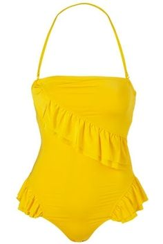 Yellow Slinky Frill One Piece Swimsuit - Swimwear - Clothing - Topshop USA - StyleSays
