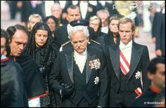 Caroline, Rainier & Albert walk behind the coffin of Princess Grace.  September 1982