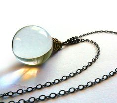 Crystal Ball Necklace, Large Glass Ball, Seer Stone, Wire wrapped, Long Necklace, Fortune Telling, Glass Globe