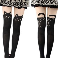 c2e3f16ed0 Girl12Queen Women Sexy Cat Tail Gipsy Mock Knee High Hosiery Pantyhose  Tattoo Leggings Tights