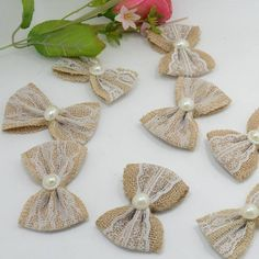 - Hessian Jute Bows With Lace Imitation Pearl Wedding Craft Decoration Card Make & Garden Burlap Lace, Burlap Flowers, Burlap Bows, Fabric Flowers, Burlap Crafts, Ribbon Crafts, Pine Cone Christmas Decorations, Diy Crafts For Home Decor, Shabby Chic Flowers