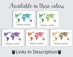 Watercolor World Map Wall Art World Map Blue Green World