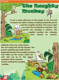 The Naughty Monkey Stories With Moral Lessons, English Moral Stories, Short Moral Stories, English Stories For Kids, Moral Stories For Kids, English Worksheets For Kids, Short Stories For Kids, English Story, Kids English