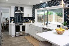 Christina & Ant Anstead's New Home | Christina on the Coast | HGTV Blue Backsplash, Kitchen Backsplash, Backsplash Ideas, Kitchen Buffet, Kitchen Ideas, Kitchen Inspiration, Hgtv Kitchens, White Countertops, Kitchen Pictures