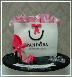 Design your own photo charms compatible with your pandora bracelets. Pandora Gift Bag Cake - Cake by Mel_SugarandSpiceCakes Pretty Cakes, Beautiful Cakes, Amazing Cakes, Shoe Cakes, Cupcake Cakes, Fashionista Cake, Island Cake, 16 Birthday Cake, Neon Birthday