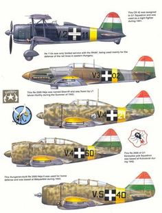 Aircraft of the Royal Hungarian Air Force Plate 4 Military Helicopter, Military Aircraft, Luftwaffe, Italian Air Force, Defence Force, Ww2 Planes, Ww2 Aircraft, Military Equipment, World War Two