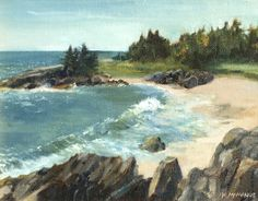 """""""Windy Day at Sea Beach"""" by Karen McManus. 7""""x9"""", Oil. Available at www.maine-art.com"""