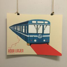 Stockholms tunnelbana. Röda linjen 30x40. Design: Pop-in via Pop-in Majorna Local graphics