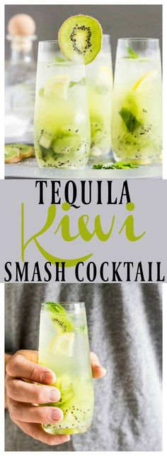 Tequila Kiwi Smash Cocktail | This boozy drink is the perfect way to toast summer! With notes of fresh kiwis, cool mint, tequila and club soda it's refreshing and smashing-ly delicious!!