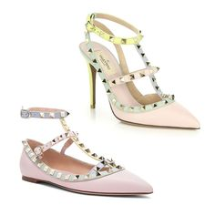 Rank & Style - Valentino Rockstud Watercolor Colorblock Leather Pumps and Rockstud Cage Flats #rankandstyle
