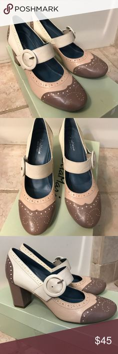 ZitaMaria heels from Anthropologie Made in Italy Zita Maria Nevina all leather maryjane heels. Beautiful taupe/nude pink/Ivory leather colors. Leather wrapped heal. Leather insole with rubber soles. Original box. Only worn 1-2 times.  Very good condition. Anthropologie Shoes Heels