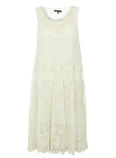 Tenki Cream Lace Midi Dress