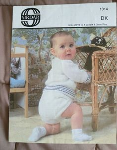 Baby Sweater & Pants vintage knitting pattern DK 8 ply yarn  #Sirdar