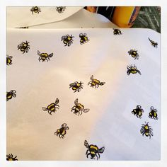 New Busy Bee hand printed textile