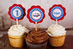 Boys First Birthday Airplane Theme Cupcake by getthepartystarted