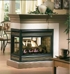 Kingsman Peninsula Direct Vent Gas Fireplace – Marjorie B. Davis Home Double Sided Gas Fireplace, Direct Vent Gas Fireplace, Vented Gas Fireplace, Home Fireplace, Fireplace Remodel, Fireplace Design, Fireplace Ideas, Electric Fireplace, Corner Gas Fireplace