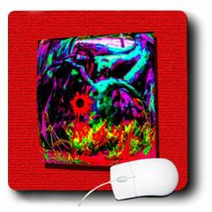 mp_184514_1 Jos Fauxtographee- 3D Repousse - A 3D Repousse with a rounded end of flowers in amped hues on red - Mouse Pads