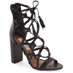 "Steve Madden 'Tarrra' Ghillie Block Heel Sandal, 4"" heel ($140) ❤ liked on Polyvore featuring shoes, sandals, black leather, block-heel sandals, black lace up sandals, high heel sandals, lace-up sandals and leather sandals"