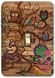 Retro Owl Brown Metal Light Switch Plate Cover