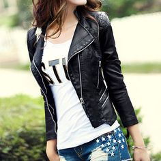 Black Quilted Slim Fit Cropped Motorcycle Jacket Coat [grxjy561117]