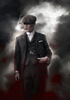 """masterhalfling: """" On a gathering storm comes a tall handsome man In a dusty black coat with a red right hand """" Amazing fan art! Red Right Hand, Peaky Blinders Poster, Art, Portrait, Poster"""