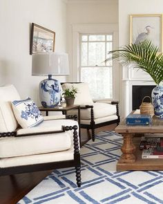 BLACK and white and blue all over Old Hickory Tannery Ellsworth Neutral Spindle-Back Chair - Modern Living Room Blue And White Living Room, Living Room Grey, Living Room Decor, Elegant Living Room, Living Room Furniture, Living Room Plan, Home And Living, Living Room Designs, Small Living