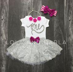 First birthday short sleeve silver sparkle bodysuit, number one bodysuit, silver sparkle one bodysuit