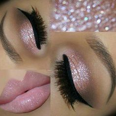 31 Beautiful Wedding Makeup Looks for Brides Pink Glitter Eyes + Pink Lips Glitter can be a girl's best friend, especially on her wedding day. Wedding Eye Makeup, Wedding Makeup For Brunettes, Makeup For Blondes, Hair Wedding, Wedding Nails, Glitter Wedding, Wedding Beauty, Wedding Bride, Bridal Smokey Eye Makeup