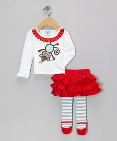 Take a look at this White Monkey Tunic & Red Ruffle Skirted Leggings - Infant by Mud Pie on #zulily today!