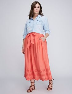 Eyelet Maxi Skirt, casual outfit, preppy style, plus size fashion, curvy, skirt